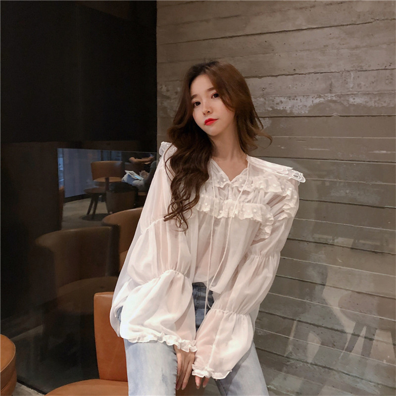 Hzirip 2018 Sweet Tops Spring Summer Long Sleeve Perspective   Blouse     Shirt   Women V-Neck Patchwork Lace Ladies Solid   Shirts   Loose