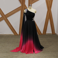 Unique Gradient color Black And Red Long Evening Dress One Shoulder Long Strap Cut Out Crystals Chiffon Arabic Evening Dresses