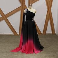 Einzigartige Gradienten farbe Schwarz Und Rot Lange Abendkleid Schulter-langes Ausgeschnitten Kristalle Chiffon Arabische Abendkleider