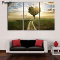 Pictures Home Decor Living Room Painting Wall Art 3 Panel Sunset Highway Landscape HD Printed Modern