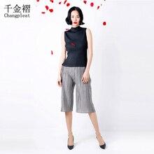 2017 Summer women's pants Miyak pleated large size wide leg pants Elastic waist loose fold pants