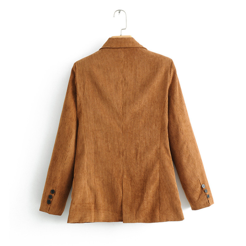 Women Corduroy Blazer  Single Breasted Button With Pocket Long Sleeve Notched Jacket Coat Female Casual Outerwear Loose Top