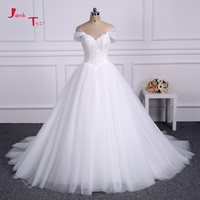 Jark Tozr 100 Real Picture Short Sleeve Zipper Up Appliques Beading Sequin Bodice Ball Gown Wedding