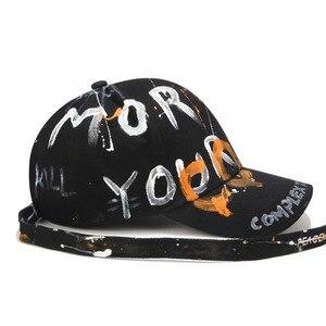 Image 4 - RoxCober Gorras de béisbol con grafiti hechas a mano para hombre y mujer, gorros ajustables con Cierre trasero y correa larga, estilo Hip Hop, Unisex