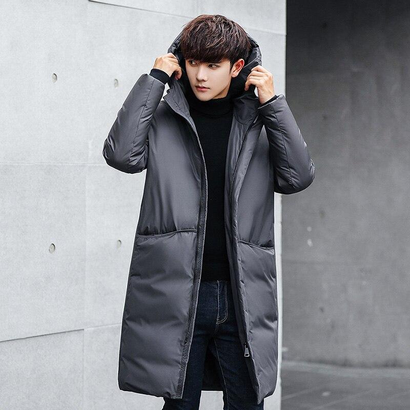 US $123.86 54% OFF|Winter Men Down Jacket Slim Long Parka 2018 Korean Trend Hooded Parkas Thicken Warm Coat Large Size 4xl Black Outerwear X542 in
