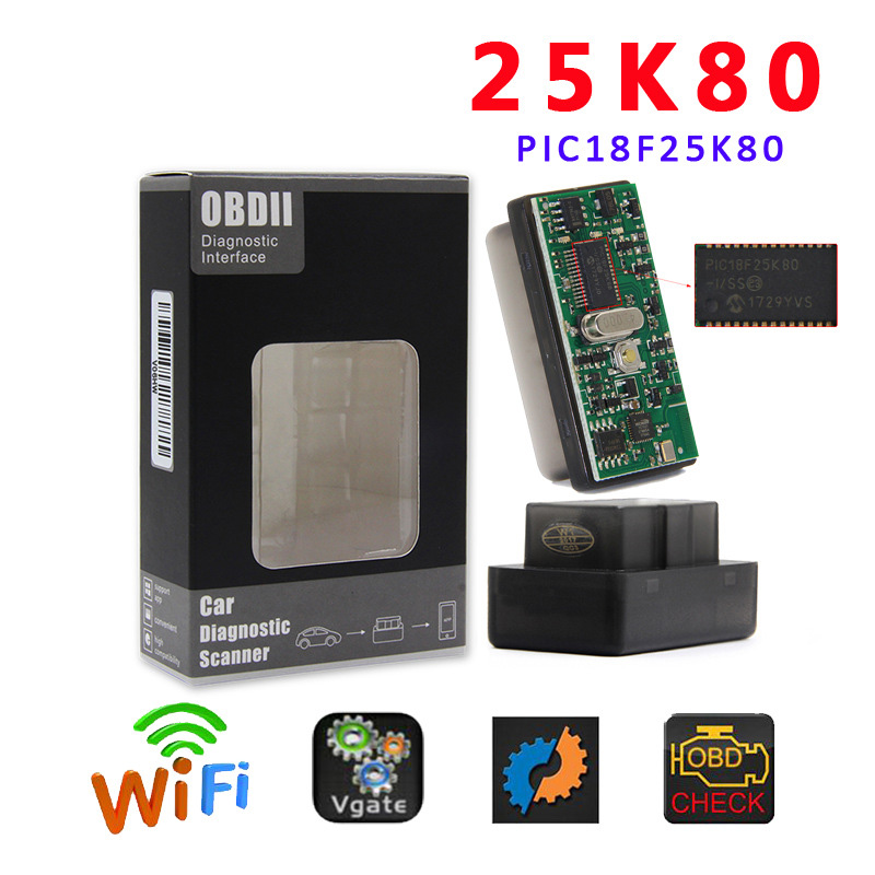 Mini ELM327 WIFI 25K80 OBD2 Car OBD 2 WIFI Connection Wireless OBDii Diagnostic Tool Works For iphone IOS Android Smart ELM 327