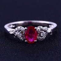 4x6mm Oval Cut Natura Ruby Diamonds Solid 14k White Gold Fine Engagement Lady Ring Women Wedding