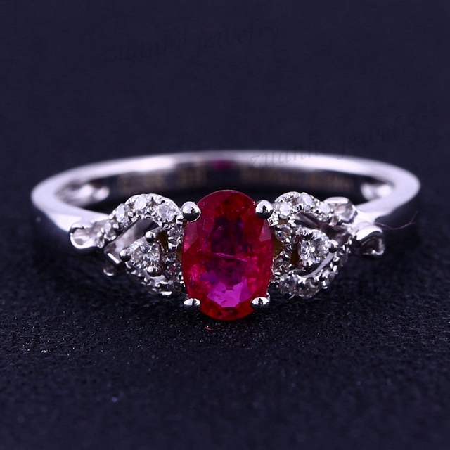 4x6mm Oval Cut Natura Ruby Diamonds Solid 14k White Gold Fine Engagement Lady Ring Women Wedding Ring