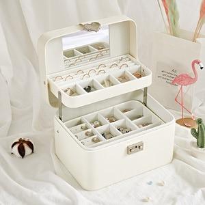 Image 4 - Casegrace גדול אוטומטי תכשיטים עם מנעול מעולה שלוש שכבה עור עגילי אחסון ארון נייד אופנה אריזת מתנה