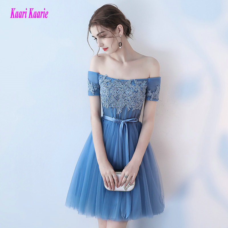 Fashion Blue   Prom   Gowns 2019 Sexy   Prom     Dresses   Short Boat-Neck Tulle Appliques Lace-Up Lady Casual Party   Prom     Dress   Custom Made