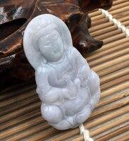 Hand Carved Green stone Gems Pendant & Necklace Avalokitesvara Lucky Charm (A0325)