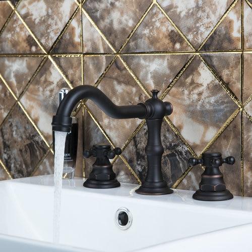 Plum Flower Ceramic Handle Oil Rubbed Black Bronze Bathtub Torneira 97116 Deck Bathroom Sink Brass Faucet,Mixer Tap phasat 111k retro oil rubbed brass finish ceramic cap dual handle bathroom sink faucet dark bronze