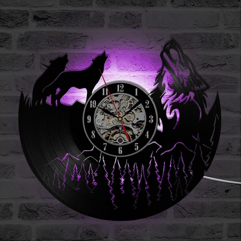 Hollow Wolf Model Vinyl Record Clock Unique Vintage ...