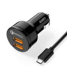 Aukey Quick Charge 3.0 Two Ports Support QC3.0 36W USB Car Charger for iPhone Samsung Galaxy S6 Note HTC M9 Nexus 6 Xiaomi Mi4