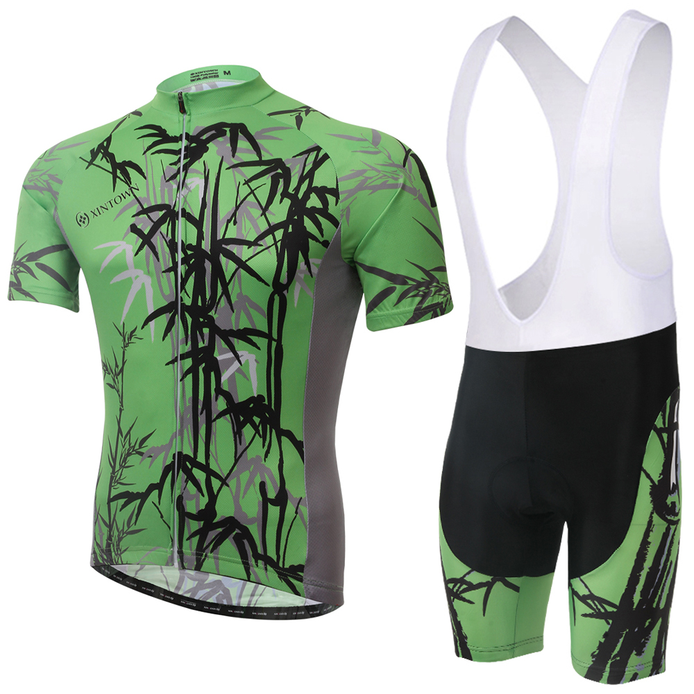 XINTOWN Black Bamboo Cycling Jersey And Bib Shorts Set Downhill MTB Roupa Ciclismo Short Sleeve Racing Clothing 100% GEL Pad