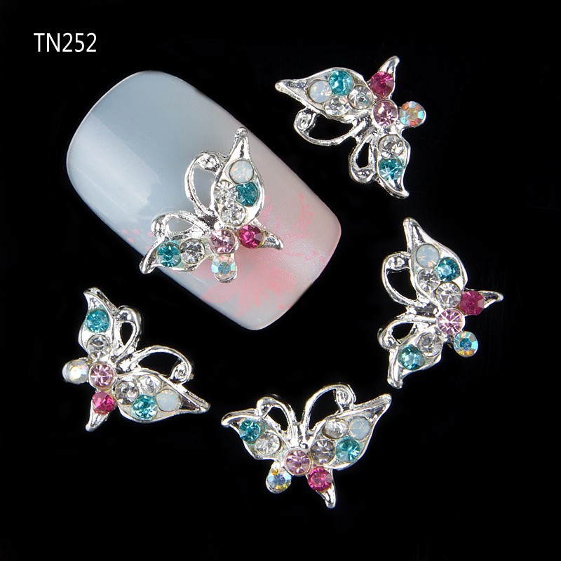 10pcs Glitter Butterfly Rhinestones 3d Nail Art Decorations, Alloy Nail Sticker Charms Jewelry for Nail Gel/Polish Tools TN252 3d charms glitter nail art decorations mix irregular beads rhinestones alloy studs design manicure nail gel laser paillettes