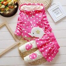 0-5 Ages 2016 Korean New Casual Kids Suits Spring Antumn Cute Kids Clothing Dots Coat + Pants Girls Children Sets 3colors