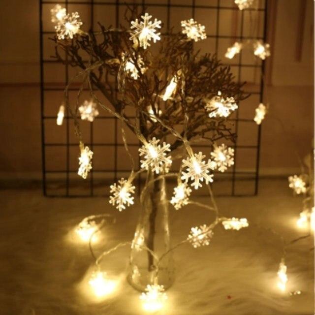 Splevis Battery Operated 220v Lights Led Snowfake String Fairy Christmas Wedding Home Indoor Decorative