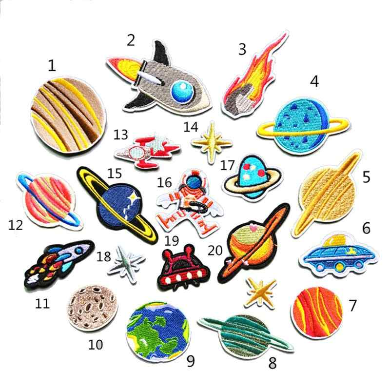 5455d31caefa 1 Set Embroidery Patches Outer Space Planet Pattern Sew On Patches Iron On  Patches For Clothes Badges Sticker For Jeans