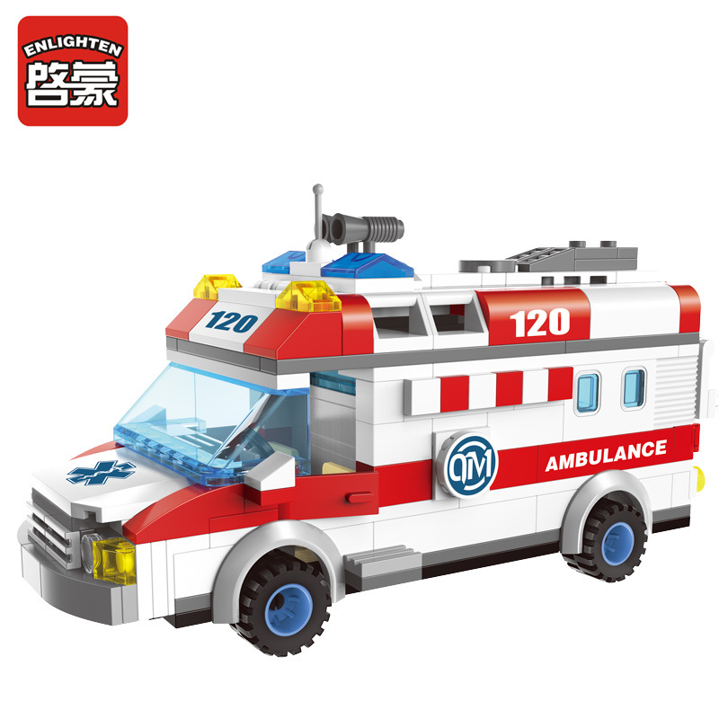 ENLIGHTEN City Series Emergency Ambulance Building Blocks Sets Bricks Model Kids Toys Compatible Legoe lepin city police high speed chase building blocks sets bricks kids model kids toys marvel compatible legoe