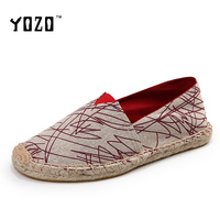 YOZO Women Shoes Canvas Shoes Women Fashion Hand Made Straw Braid Espadrilles Women Flat Casual Loafers