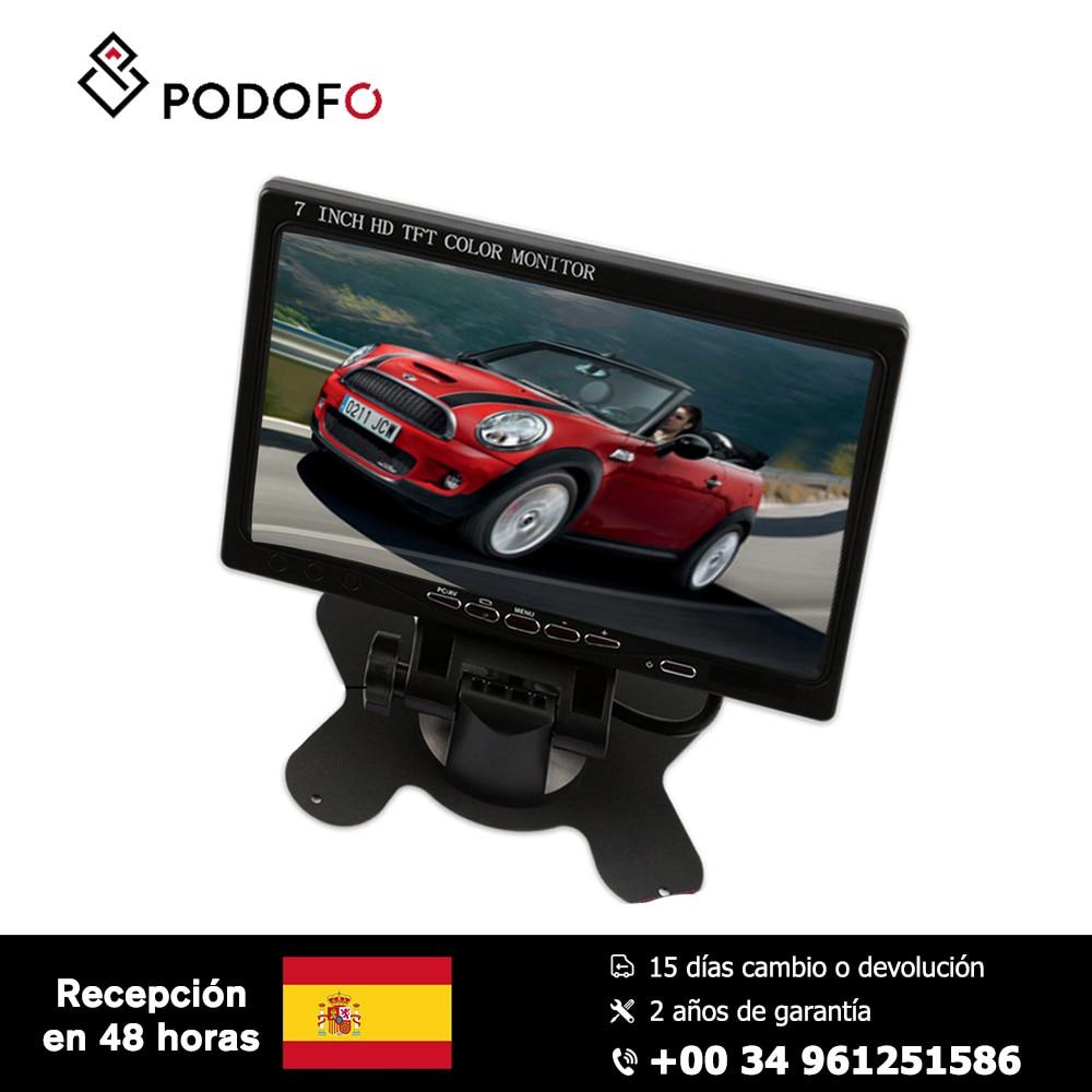 Podofo 7 ''HD voiture moniteur écran de recul affichage numérique HDMI VGA DVD pour voiture sauvegarde caméra + télécommande avec adaptateur secteur