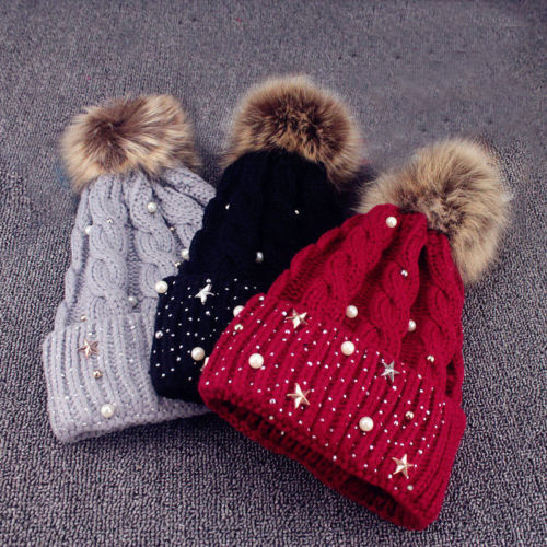 2018 New Ladies Winter Style Pearl Wool Caps Womens Knitted Beanie Ski Hat  Faux Fur Bobble Pom Wine Black Outdoor Warm Hats Hot 735ef971b32