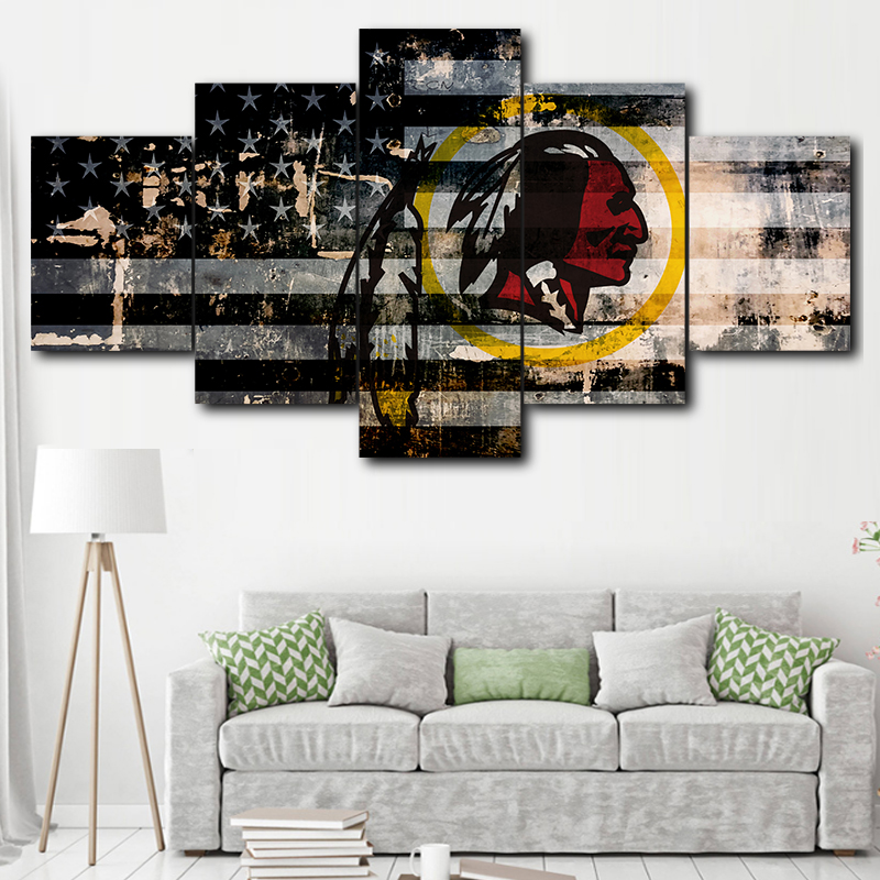 Groovy Us 6 0 50 Off Canvas Hd Print Sport Logo Poster Home Decor Frame 5 Pieces Washington Redskins Painting Living Room Wall Art Picture Home Decor In Creativecarmelina Interior Chair Design Creativecarmelinacom