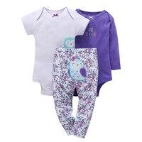 100 Cotton 2017 New Baby Boy Girl Clothes Set Kids Bebes Girl Purple Owl 3pcs Clothing