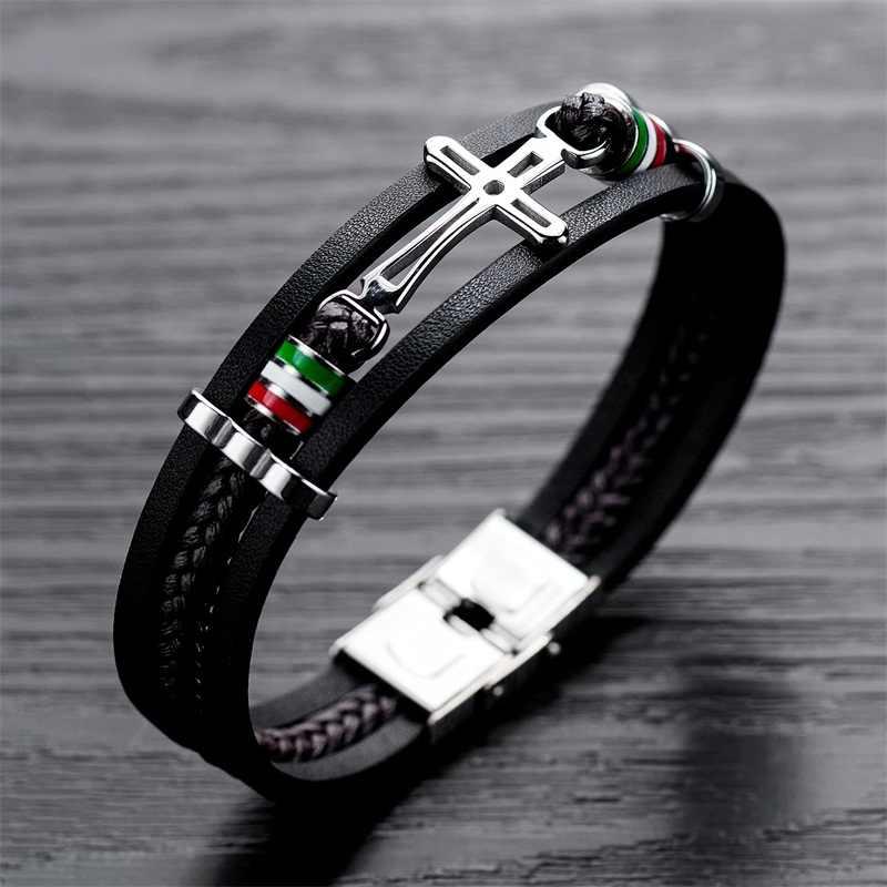 AZIZ BEKKAOUI ręcznie krzyż skórzany łańcuch tkane mężczyzn bransoletki moda nowy magnetyczny zapięcie 316L opaska ze stali nierdzewnej prezent