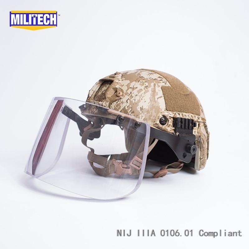 цена MILITECH AOR1 Full Camo Deluxe NIJ IIIA FAST Bulletproof Helmet and Visor Set Deal Tactical Helmet Ballistic Helmet Mask Package