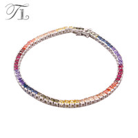 A N Bangle For Wedding Party 925 Sterling Silver With Princess Cut Multicolor CZ Chunky Crystal
