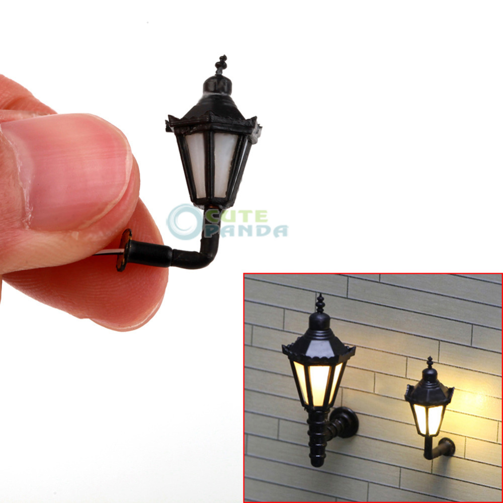 5pcs 1:150 LED Lamppost Miniature Wall Lights Model Single Head Tower Shape