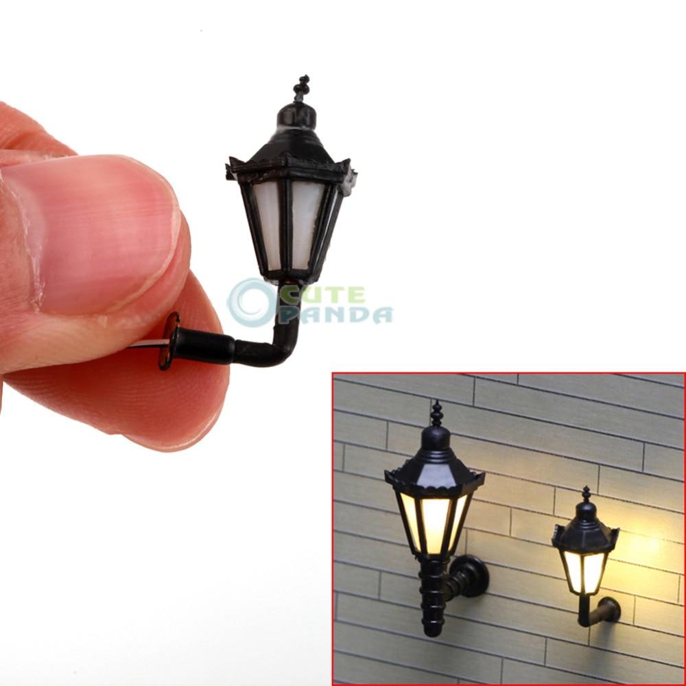 5pcs 1:150 LED Lamppost Miniature Wall Lights Model Single Head Tower Shape