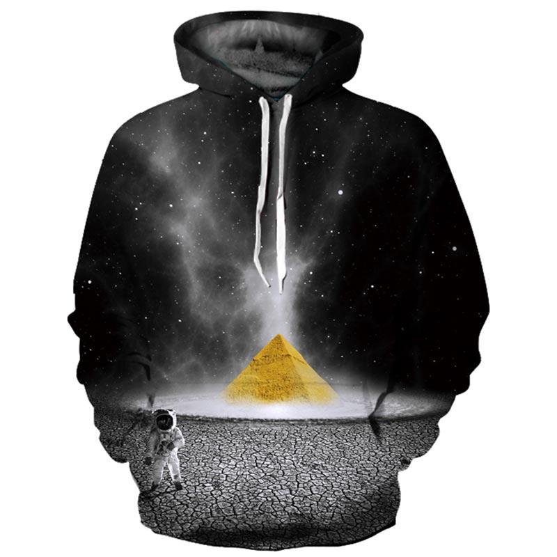 Headbook Marca Galaxy Felpe Uomini/Donne Sottile Fresco di Modo 3d Felpe Stampa Astronauta E Piramide Con Cappuccio Felpe YXQL640