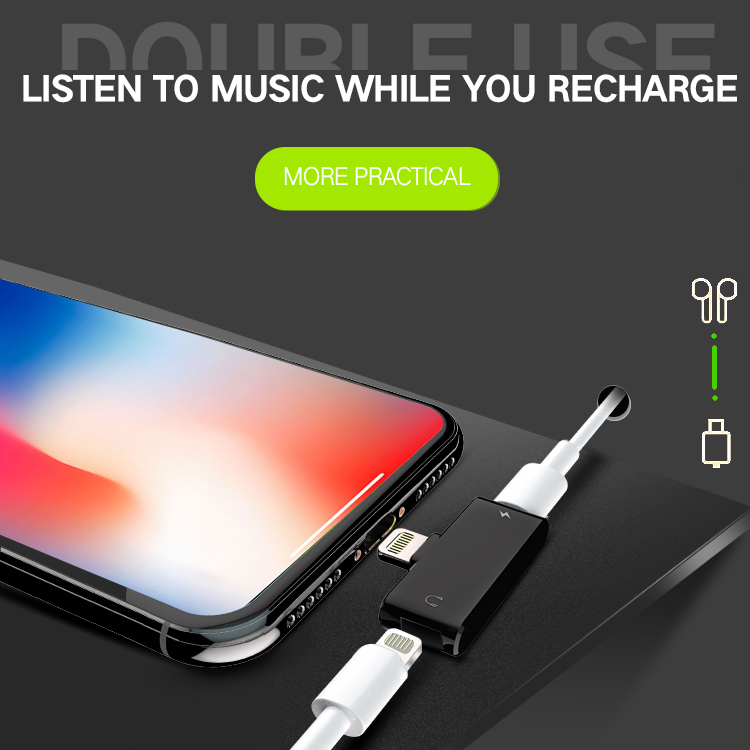 Headphone Lightnig Audio Charger Adapter 2 in 1 For iPhone 7 IPhone 8 IPhone X Compatible with all IOS System