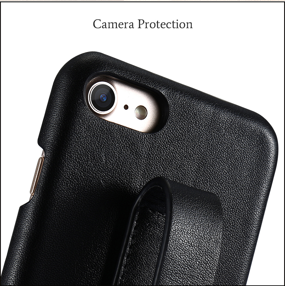 CASESHIP Genuine Leather Case For iPhone 6 6S 7 7 Plus Cover Smooth Touch Cowhide Wristband Back Cover For iPhone 6 7 Holsters (6)