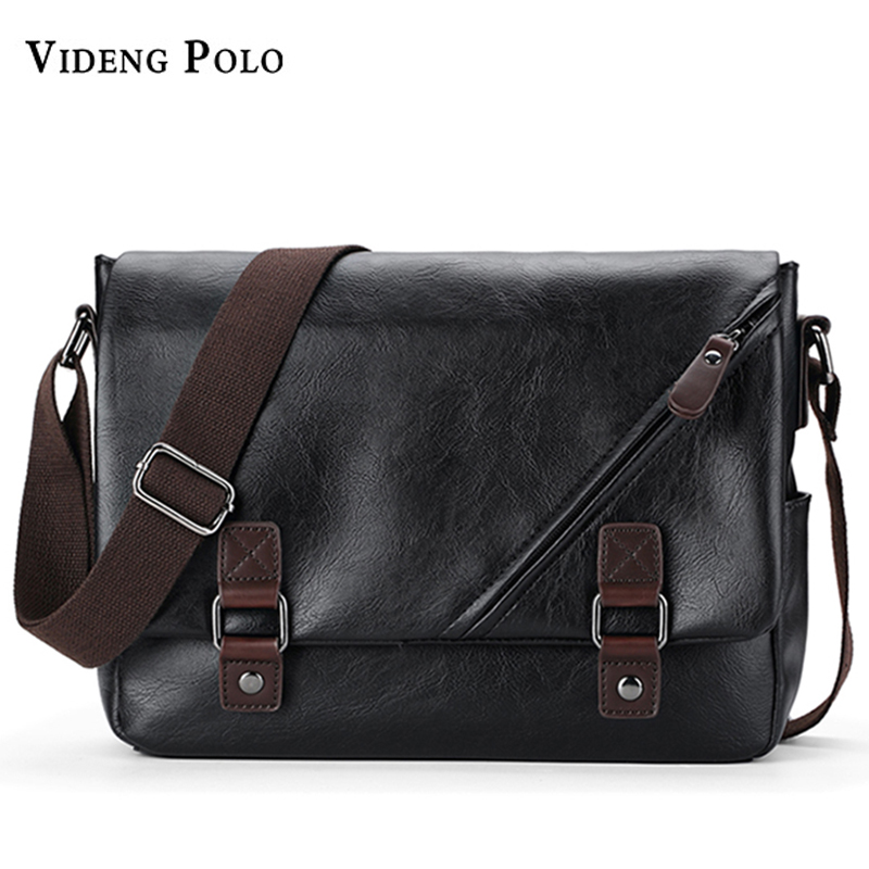 VIDENG POLO Brand PU Leather Messenger Bag Black vintga  Men's Bags Crossbody Bags For Men Casual Shoulder Bag