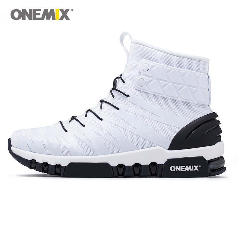 ONEMIX 2018 NEW Max Woman Running Shoes Women High Top Athletic Trainers Sport Boots Nice Cushion White Outdoor Walking Sneakers 2018 max woman running shoes women trail nice trends athletic trainers white high sports boots cushion outdoor walking sneakers