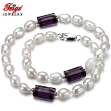 Feige Special offer Baroque 7-8MM White Freshwater Pearl Choker Necklace for Women Dark purple Crystal Gargantilla Jewelry