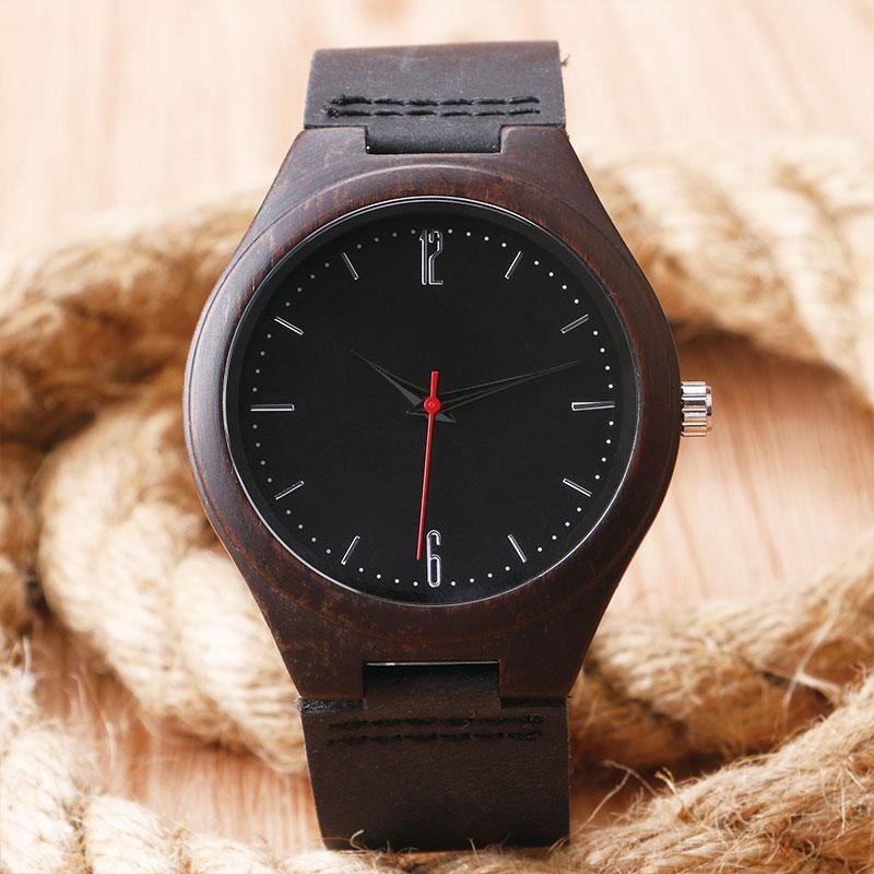Luxus természet fából készült óra minimalista bambusz fekete - Férfi órák - Fénykép 2