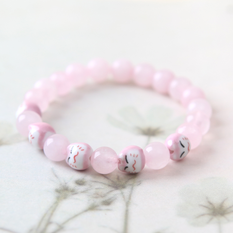 Jingdezhen Porcelain Beads Bracelet Pink Rose Quartz Crystal Diy Multi Peach Birthday Gift Female Models In Id Bracelets From Jewelry