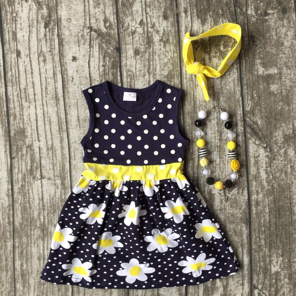 new arrival baby girls clothes kids wear summer princes navy floral yellow dress sleeveless cotton mtaching accessories boutique new arrival hot professional 29pcs animal hair cosmetic makeup brushes tool set with black leather cosmetic case2