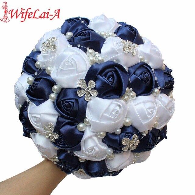 WifeLai A Navy Blue White DIY Beaded Brooch Silk Stitch Bridal ...