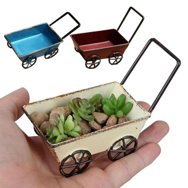 1pc Creative Small Cart Craft Decor Home Furnishings Desktop Flower Pot Prop Storage Box Gift