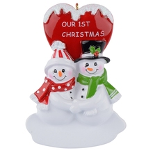 Love snowman couple with red heart polyresin glossy personalized Christmas ornaments gifts or for home decorations