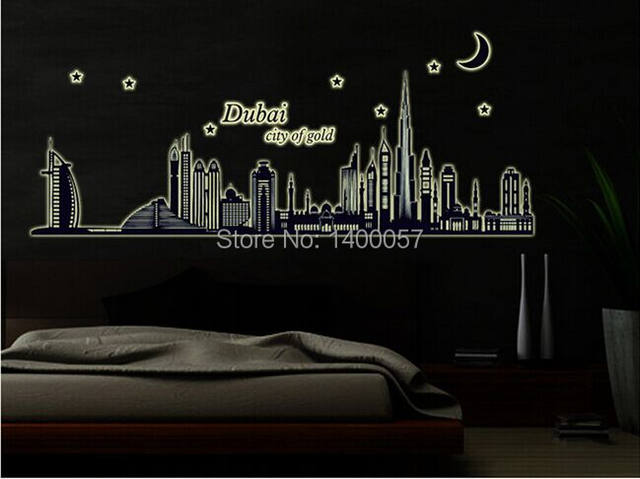 Dubai City Of Gold Glow In The Dark Bedroom Sofa TV Background Room Wall Decor Luminous Stickers Finish Free Shipping ABQ9616