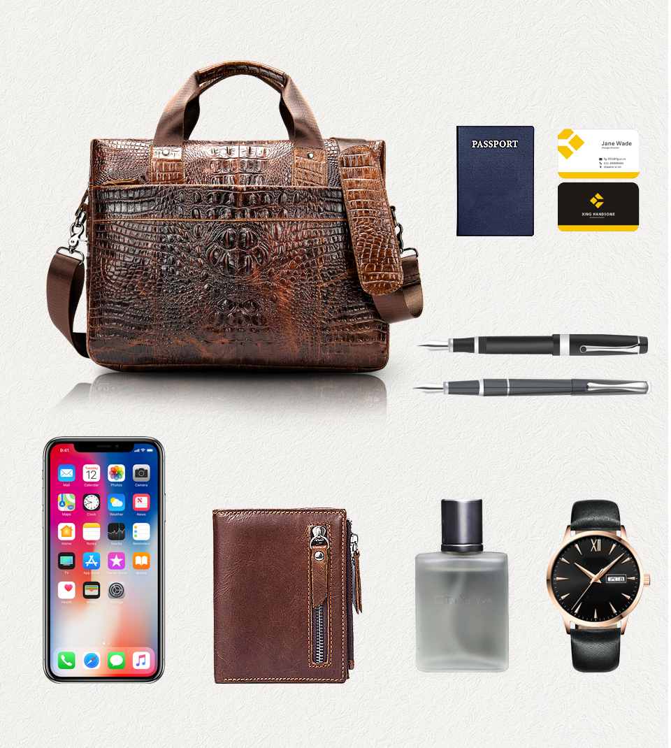 Bag for men's briefcase genuine leather office bag HTB1ECohQNnaK1RjSZFBq6AW7VXaj