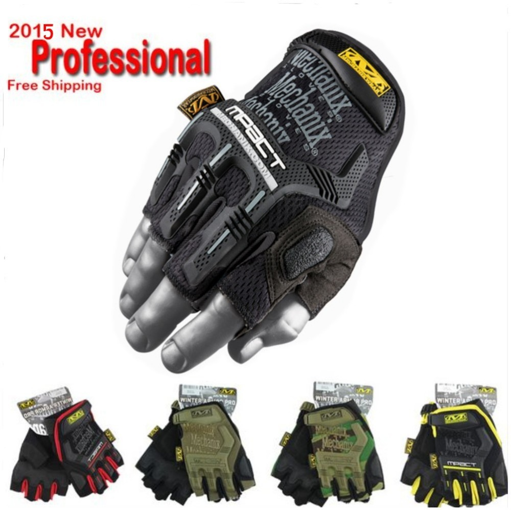 Fingerless gloves hunting - 2016 New Mechanix Wear M Pact Military Tactical Army Combat Motorcycle Shooting Climb Bicycle Hunting Half Fingerless Gloves