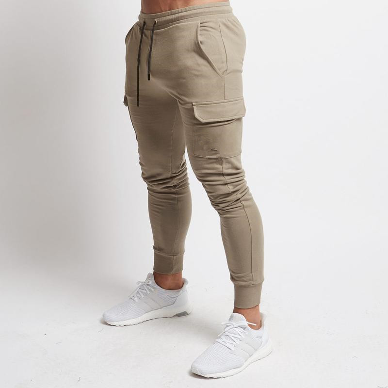 Mens Autumn Casual Cotton Sweatpants With Pocket Pants Man Gyms Fitness Bodybuilding Skinny Trousers Male Jogger Workout Pants
